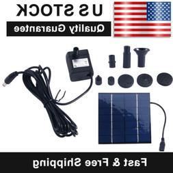 Solar Water Panel Power Fountain Pump Kit Pool Garden Pond W