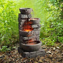 SOLD OUT-Peaktop - Outdoor Stacked Stone Tiered Bowls Founta