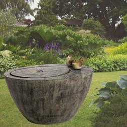 Glitzhome Spring Birds Outdoor Stone Water Fountain with LED