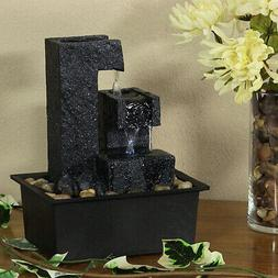 Sunnydaze Square Tiered Tabletop Water Fountain, 6 Inch Tall