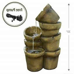 "Peaktop VFD8111 Outdoor Garden Waterfall Fountains, 15"" x 17"
