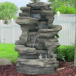 Sunnydaze Stacked Shale Electric Outdoor Waterfalll with LED