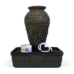 Aquascape Medium Stacked Slate Urn Water Fountain Kit for La