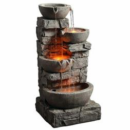 stacked stone water fountain outdoor tiered bowls