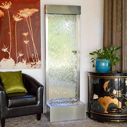 """72"""" X 24"""" Standing Waterfall Clear Glass ,Stainless Steel Fr"""