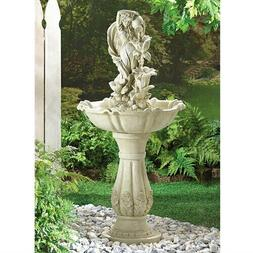 Stone Look Freestand Fairy Garden Maid Water Fountain Outdoo