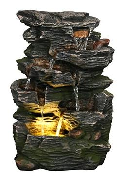 "Stone Wave Waterfall 14"" Fountain w/LED Light: Small Indoor/"