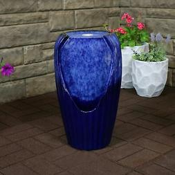 Sunnydaze Blue Ceramic Vase Outdoor Water Fountain with LED