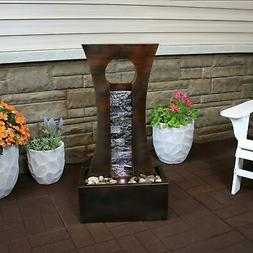 Sunnydaze Industrial Slate and Metal Water Fountain with LED