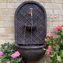 Sunnydaze Messina Hanging Outdoor Wall Water Fountain with I