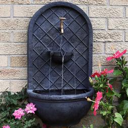 Sunnydaze Messina Hanging Outdoor Wall Water Fountain - Lead