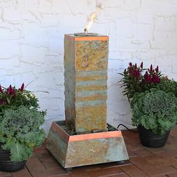 Sunnydaze Outdoor Floor Water Fountain Tower with Torch Top