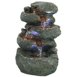 Sunnydaze Stacked Rocks Tabletop Water Fountain with LED Lig