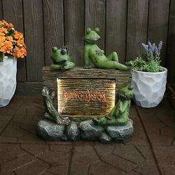 Sunnydaze Welcoming Frogs Garden Water Fountain Decor with L