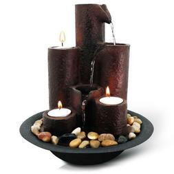 Table Top Water Fountain Indoor Decoration Relax 3 Candles L