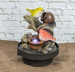 Tabletop Fountain Birds Waterfall Desktop Electric Water Fou
