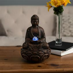 Tabletop Water Fountain Buddha Figure LED Light Glass Ball S