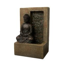 Tabletop Water Fountain Buddha Figure Stone Wall Waterfall Z