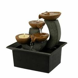 Tabletop Water Fountain Indoor Waterfall 3 Tier Candle Holde