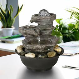 Tabletop Water Fountain LED Lights Cascading Stone Rock Fall
