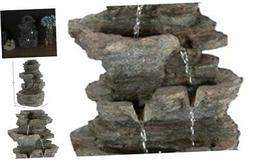Tabletop Water Fountain with Cascading Rock Waterfall and LE