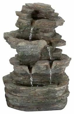 Pure Garden Tabletop Water Fountain with Cascading Rock Wate