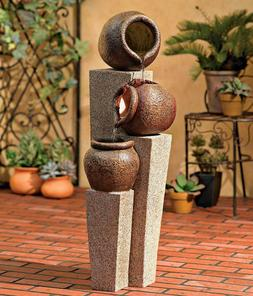 "Three Urn and Pillar Cascade35 1/2"" H Outdoor / Indoor Fount"