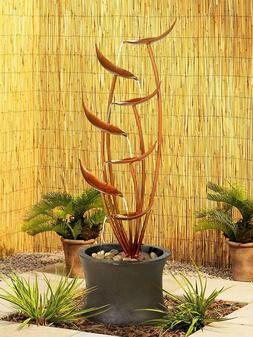 "Tiered Copper Leaves 41"" H Fountain Indoor Outdoor Garden Pa"