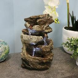 Sunnydaze Tiered Rock and Log Tabletop Fountain with LED Lig