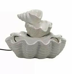 Tiered Shell Indoor Water Fountain with Pump, White