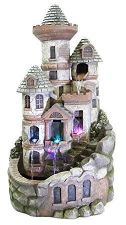 Alpine Tower Castle Fountain w/LED Lights, 35 Inch Tall