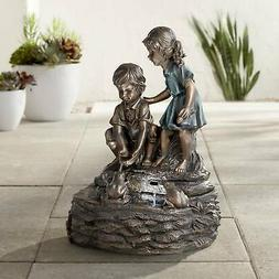 "Two Kids Over Pond 26"" High Bronze LED Floor Water Fountain"