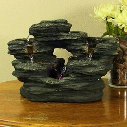 Sunnydaze Two Stream Rock Tabletop Fountain with LED Lights,
