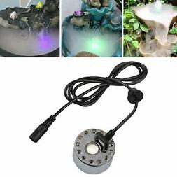 12 LED Mist Maker Fogger Water Fountain Pond Atomizer Air Hu