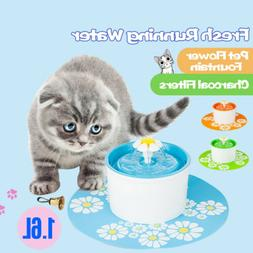 US Automatic Cat Dog Water Drinking Flower Fountain Pet Bowl