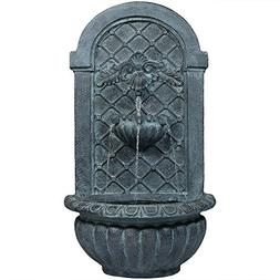 Sunnydaze Venetian Outdoor Wall Fountain, Lead Finish, 27 In