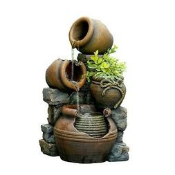 Water Fountain Feature Pots Outdoor Garden Decor Pump Weathe