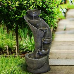 Water Fountain Outdoor Indoor Garden Outside Fountain with L