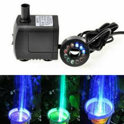 Water Fountain Pump LED Light Silent Small Submersible Water