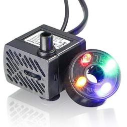Water Fountain Pump with 4 LED Light  Small Submersible wate