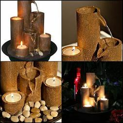 Water Fountain Tabletop Candle Rocky Tier Decor Home Rustic