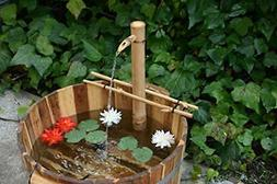 Bamboo Accents Water Fountain with Pump, Backyard Pond Kit,
