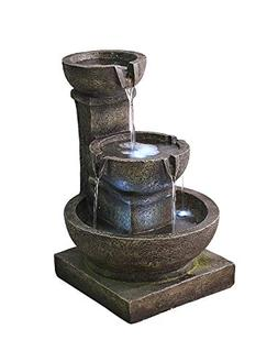 """Valentinyii Outdoor Waterfall Fountain - 16"""" H 3-Tier Home W"""