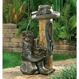 Western Americana Water Fountain Rustic Cowboy Boots Indoor