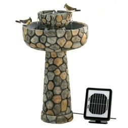 Wishing Well Solar Water Fountain With Elegant Faux Cobblest