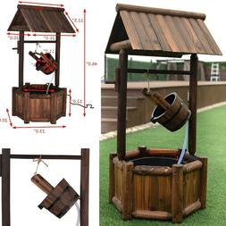Wishing Well Wooden Water Fountain Outdoor Rustic Patio Deco