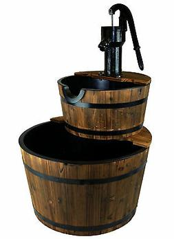 Wood Barrel with Pump Outdoor Water Fountain - Large Garden